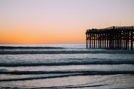 Pacific Beach at San Diego with Pier Boardwalk