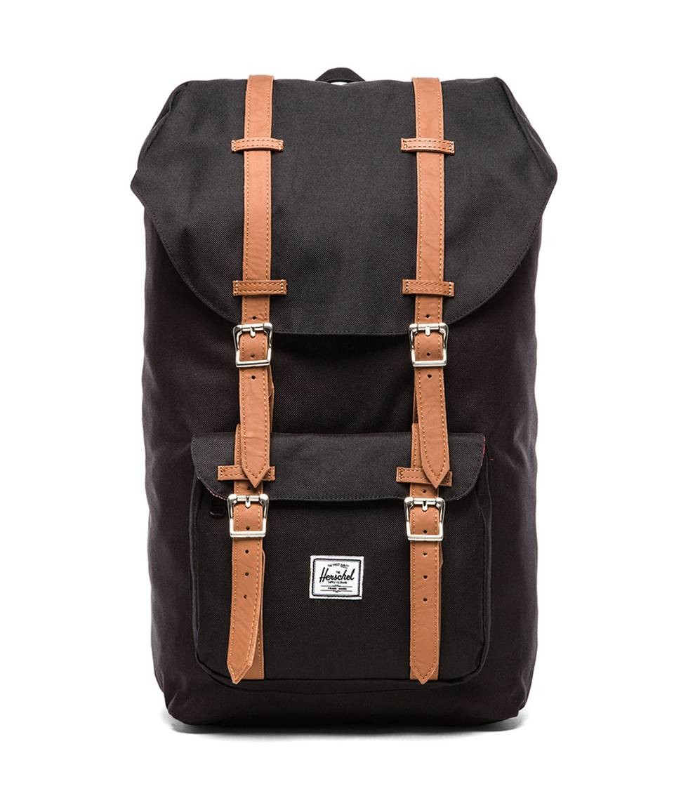 BLACK/TAN SYNTHETIC LEATHER LITTLE AMERICA BACKPACK Herschel Supply Co.