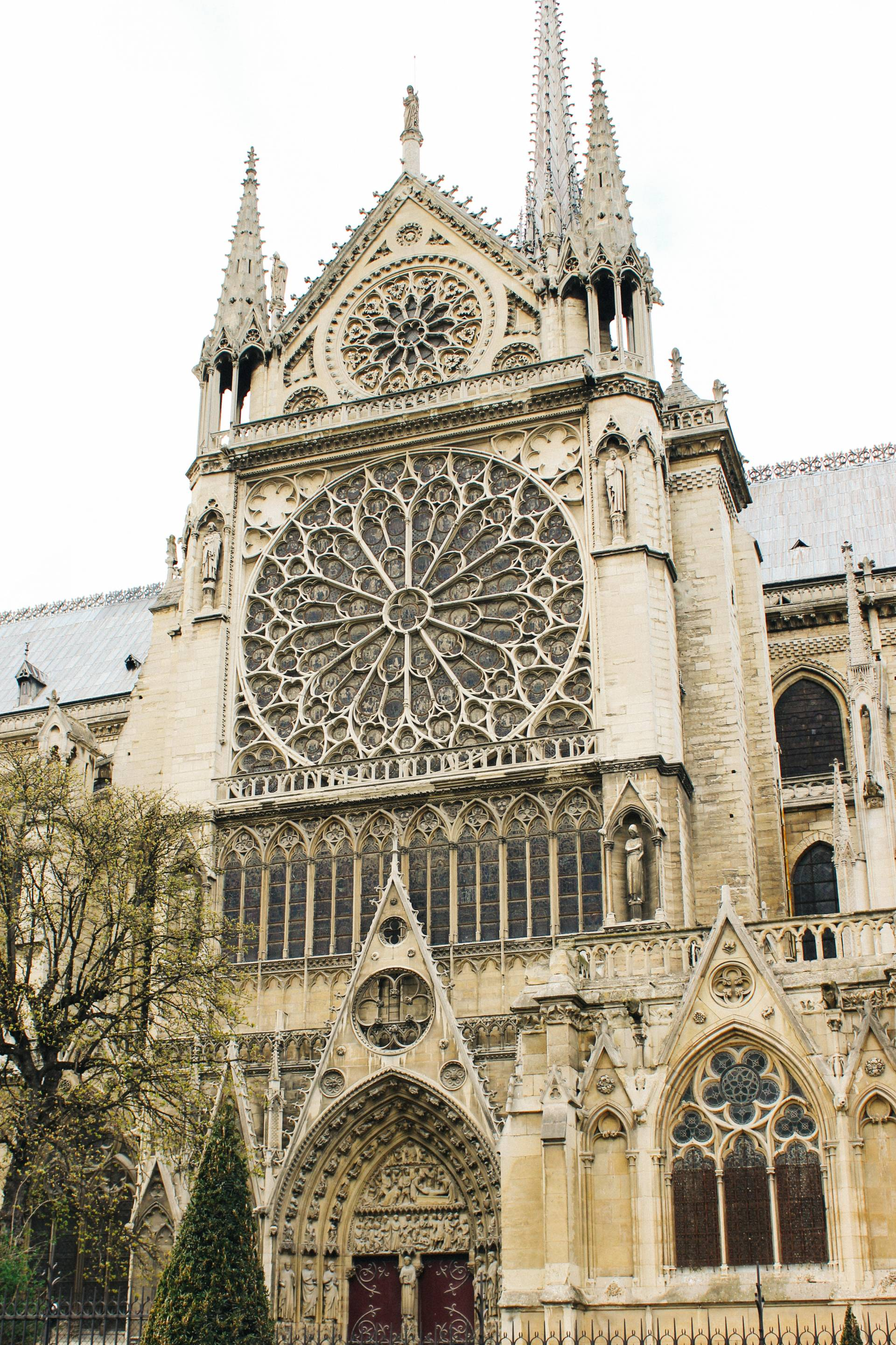 Rose window exterior at the Notre Dame Cathedral, Paris, France