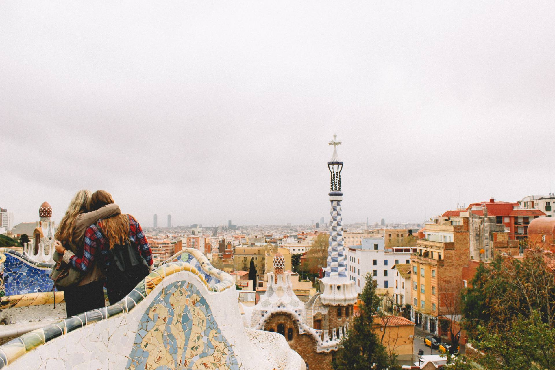 Parc Guell by Antoni Gaudi in Barcelona, Spain