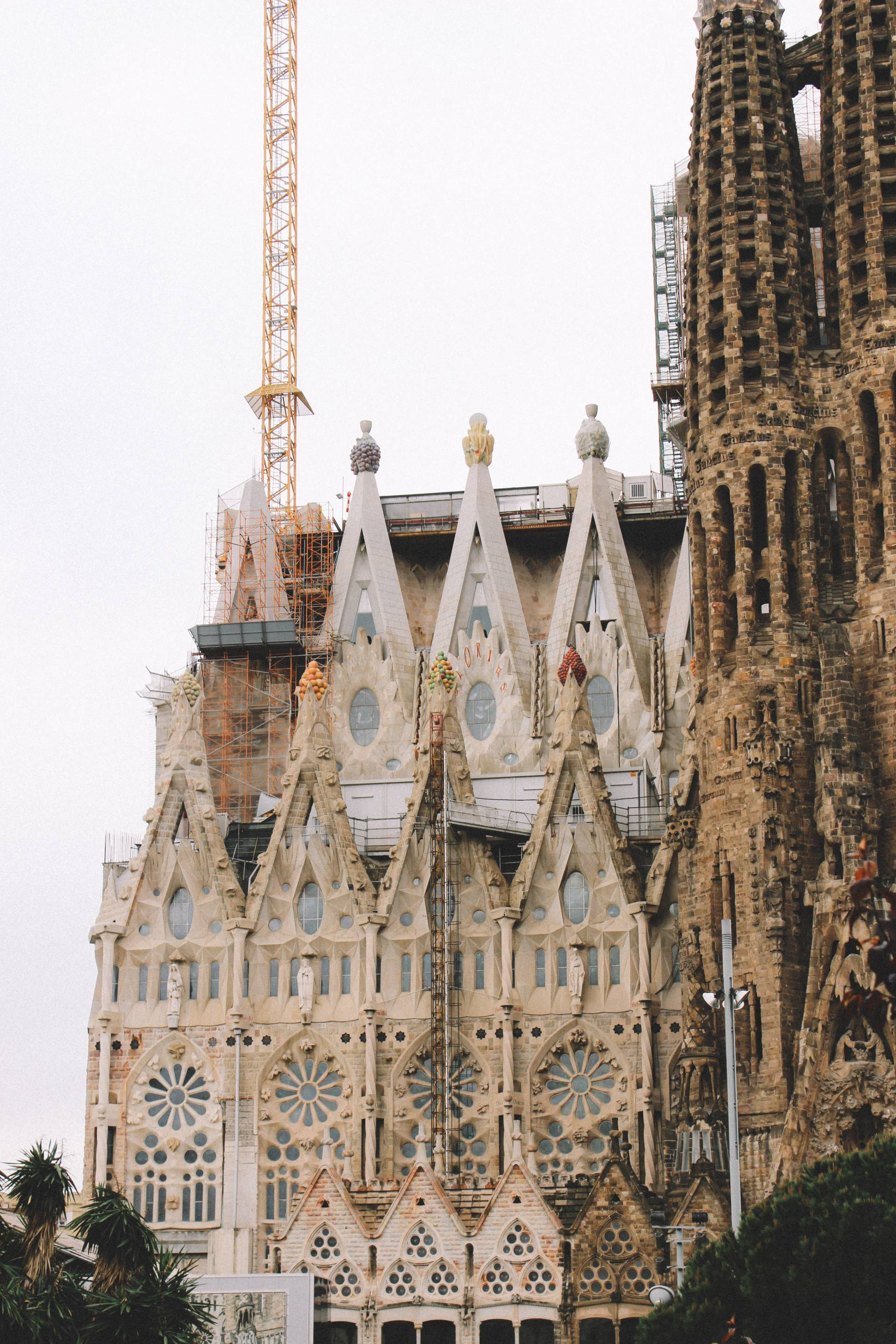 Part of the Sagrada Familia by Antoni Gaudi in Barcelona, Spain