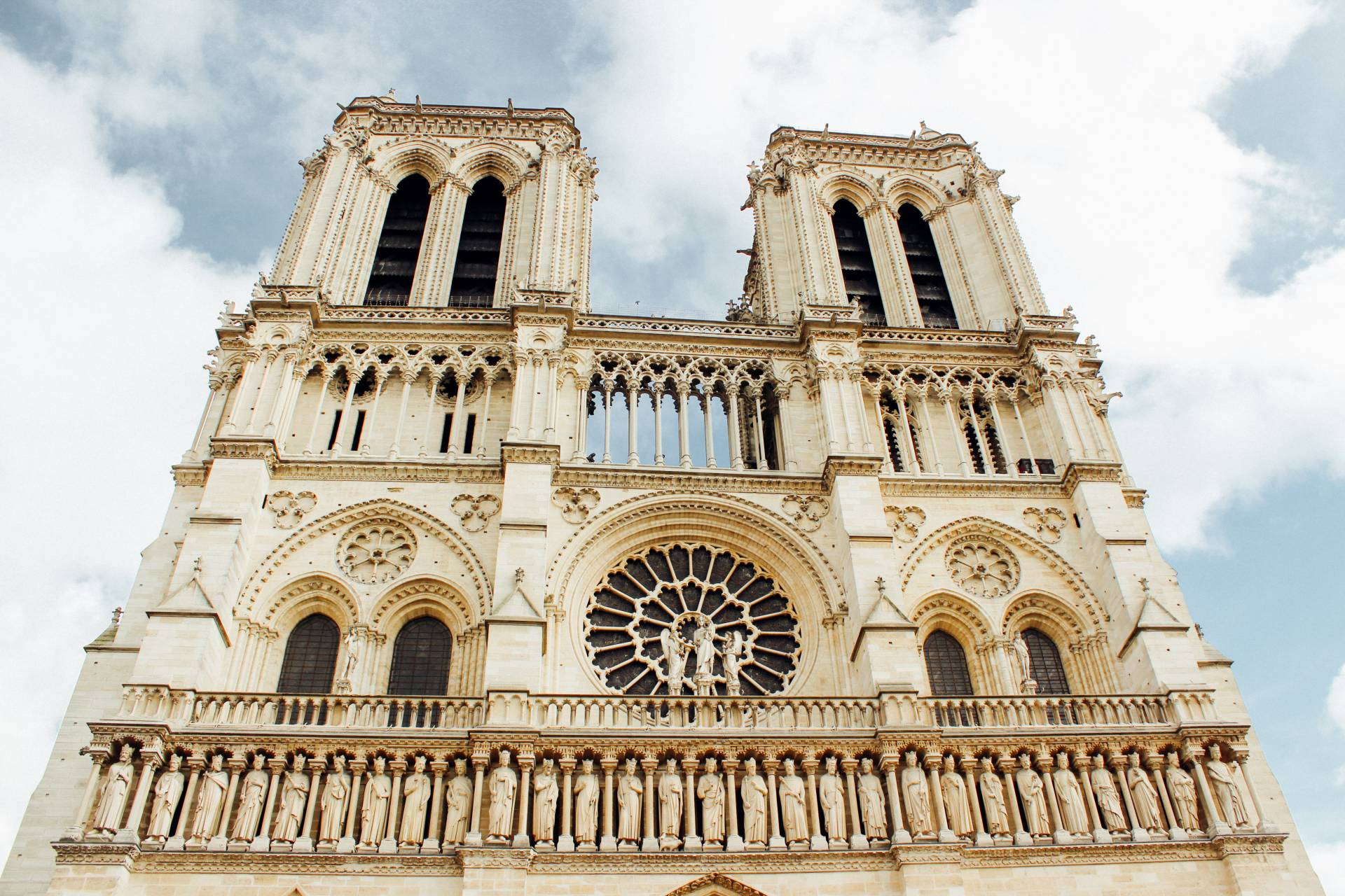 The Facade of the Notre Dame Cathedral, Paris, France