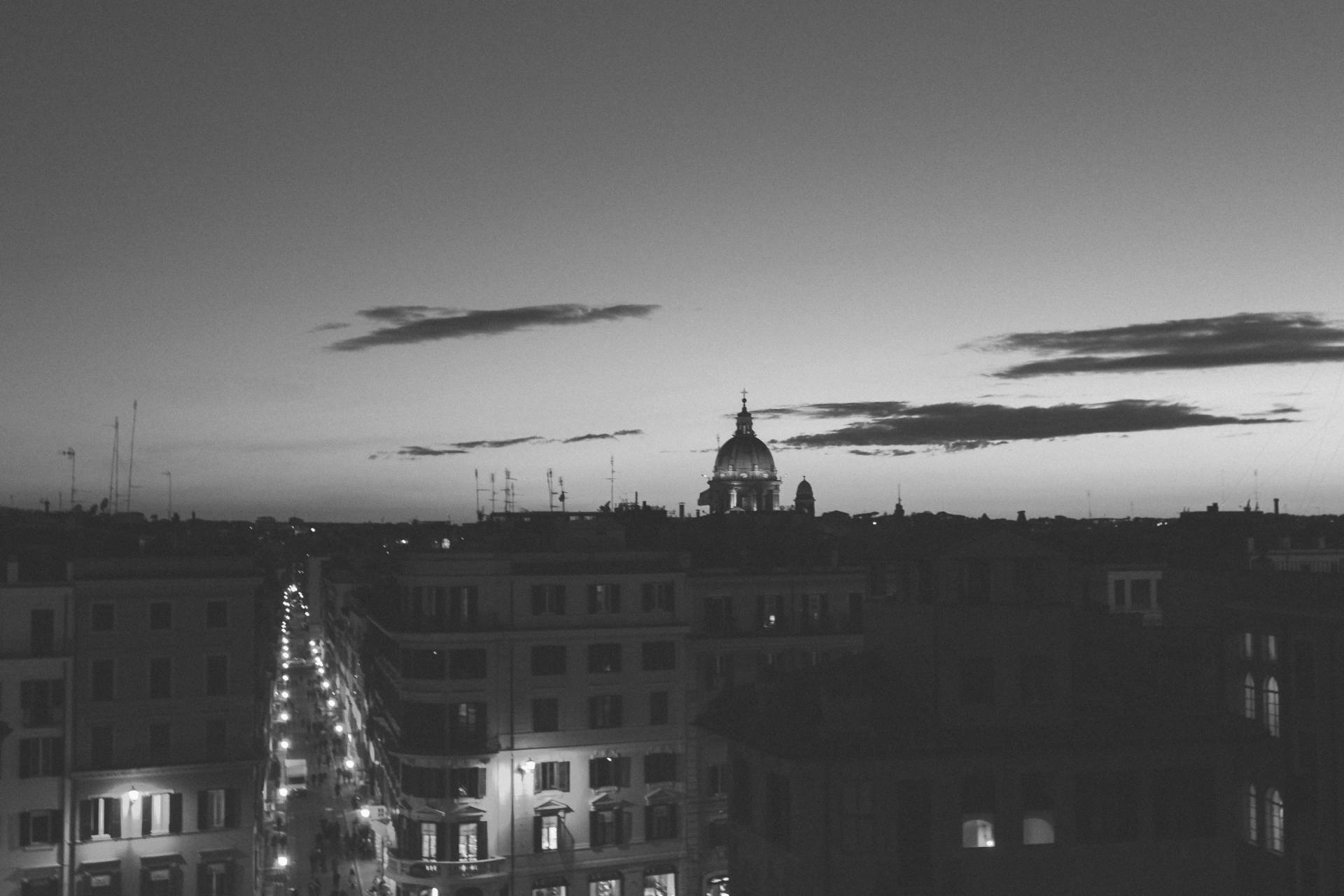 Sunset in black and white over the Spanish Steps, Rome, Italy