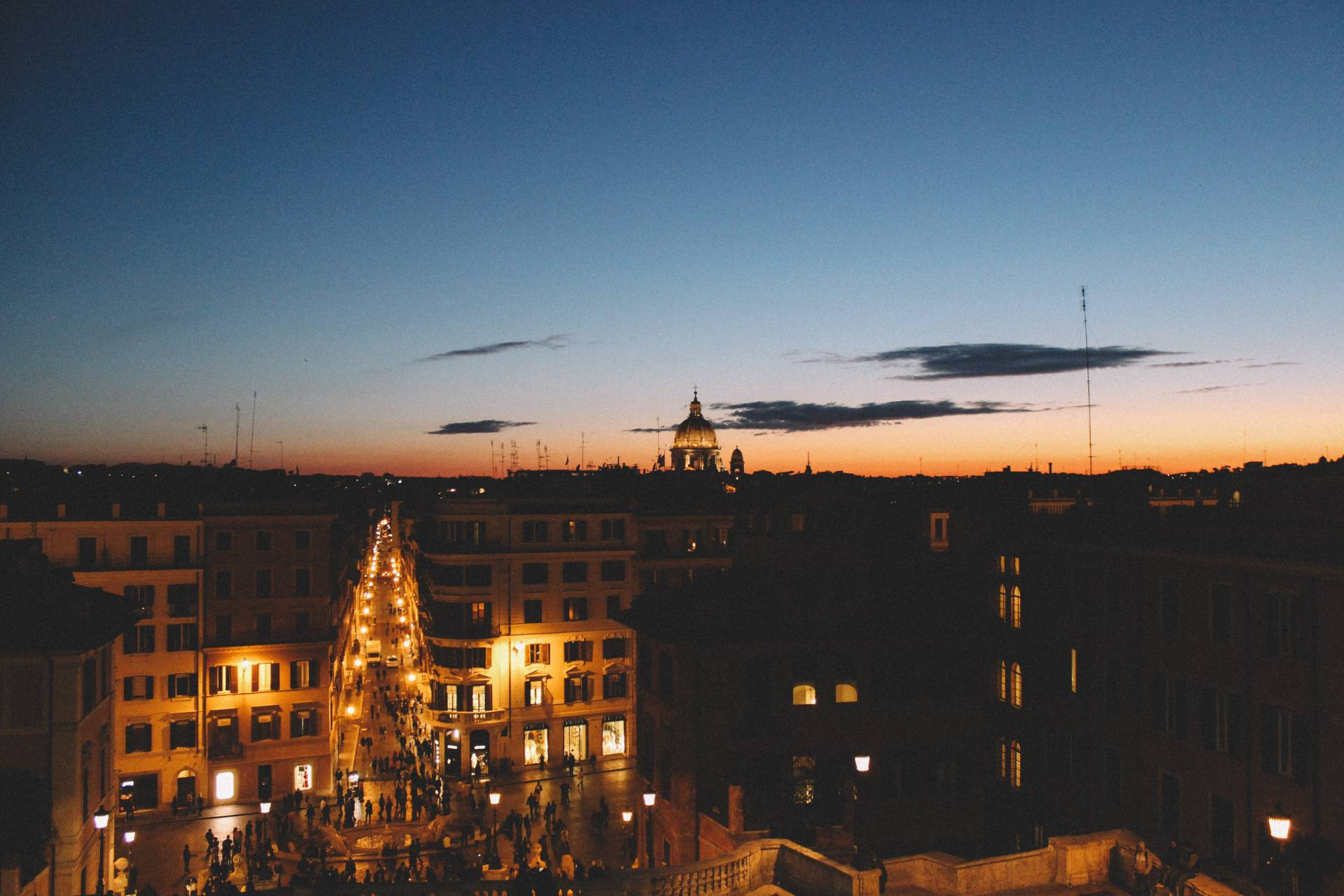 Sunset over the Spanish steps, Rome, Italy
