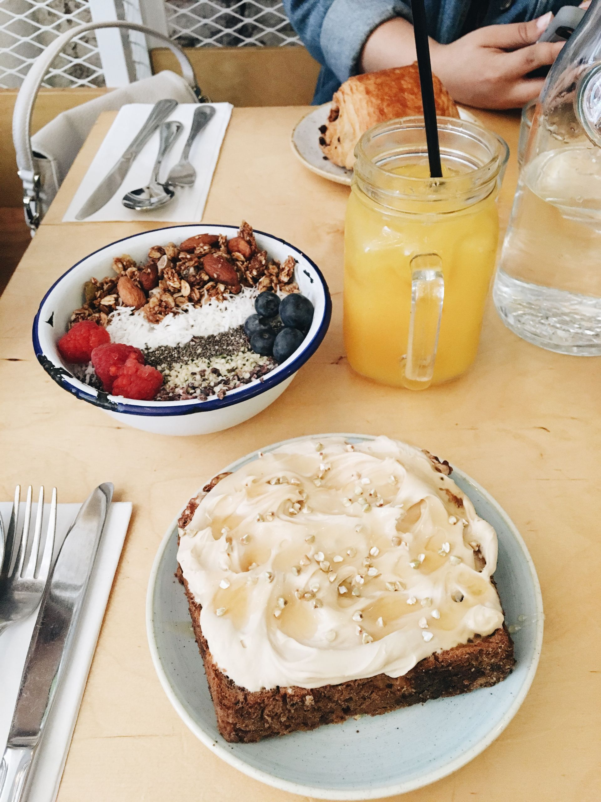 Banana Bread with Espresso Mascarpone, Acai Bowl, Orange Juice, Two Hands | Where To Eat in NYC