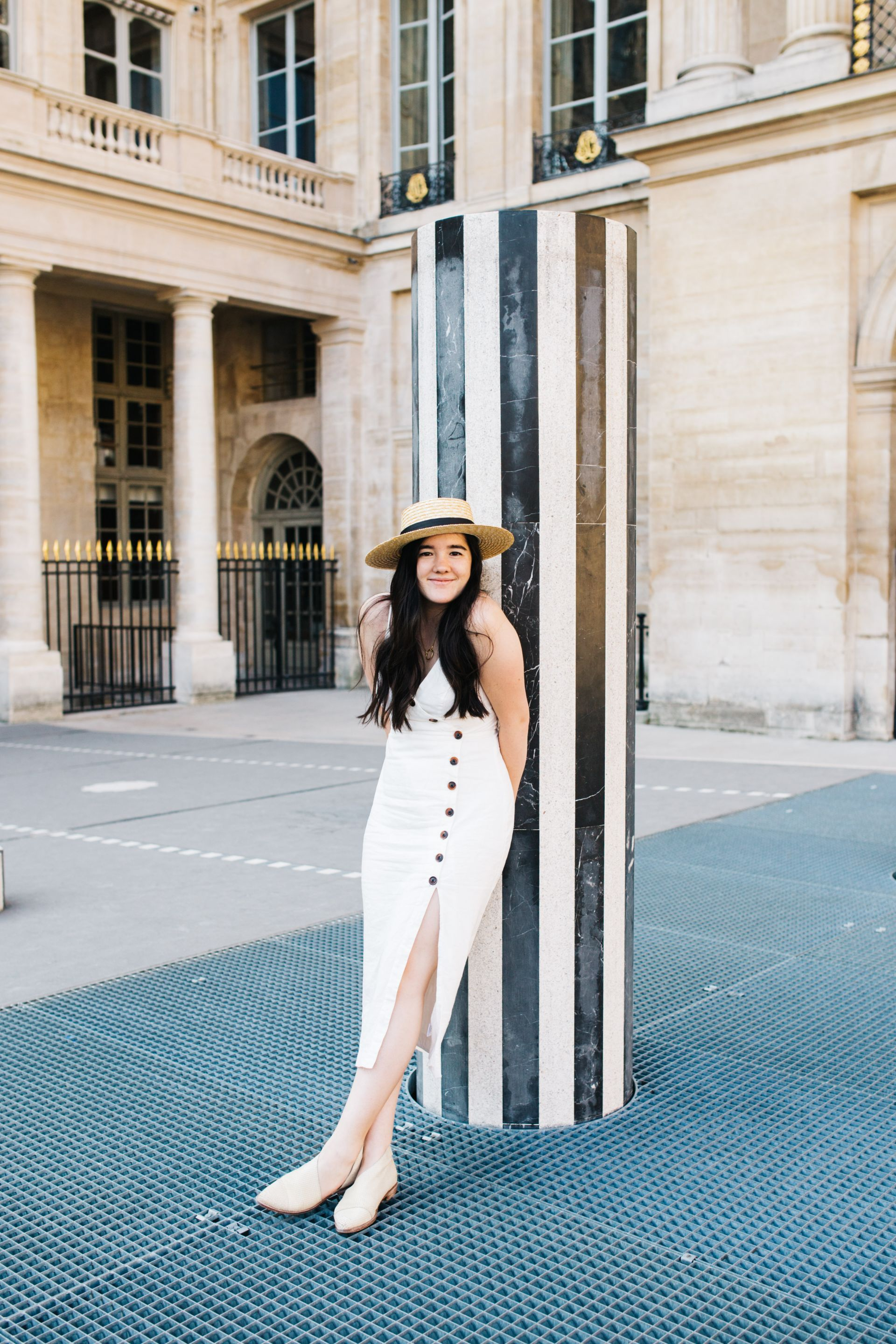 Palais-Royal, Paris, Urban Outfitters dress, Lack of Color hat | From Paris, With Love: The Perfect Parisian Weekend Guide (+ the cutest Airbnb!) | SarahMichiko.com